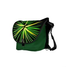 Firework Burst in Green & Yellow Messenger Bags