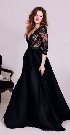 Long A-line Evening Dresses, Black Sleeves With Lace Floor-length Evening Dresses