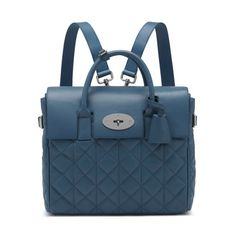 Mulberry - A Bolt From The Blue | Cara Delevingne Bag in Steel Blue Quilted Nappa