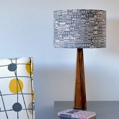 Grey City Buildings Wooden Handmade Modern Table Lamp – hunkydory home