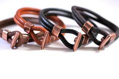 Men's Bracelet Simple Leather Bangle Copper Toggle Mens Leather Bracelet Best Selling Gift For Him. $38.00, via Etsy.