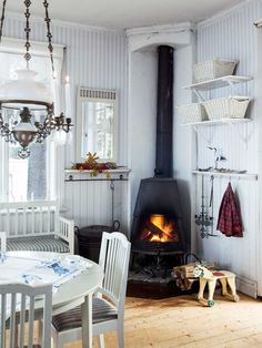 Farmhouse kitchen with fireplace country farmhouse, country decor, farm Cottage Shabby Chic, Cozy Cottage, Cottage Style, Rustic Cottage, Home Interior, Interior Design, Swedish Decor, Scandinavian Style, Fire Pit Furniture