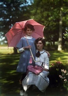 Iris (l) and Janet Laing c. 1914  Taken by mother who was an artist in England. autochrome photo.