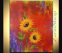 Large colorful still life sunflowers original by ZarasShop on Etsy