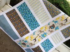 Modern jungle toddler baby quilt