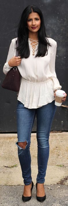 Love Zahra White Lace-up Blouse Fall Inspo