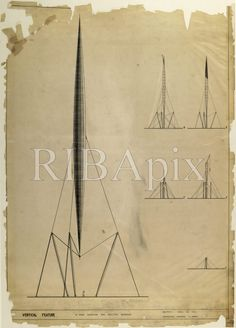 Working drawing for the Skylon, Festival of Britain, South Bank, London