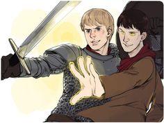 BBC Merlin fanart - Arthur and  Merlin