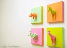 Mini Plastic Animals DIY Canvas Project | 15 Fun DIY Arts and Crafts for Kids
