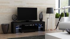 """TV Stand MILANO 130 / Modern LED TV Cabinet / Living Room Furniture / Tv Console fit for up to 55"""" flat TV screens / Capacity Tv Console for Modern Living Room (Black & Black)"""
