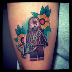 lego cewbacca tattoo - without the flowers? Lego Tattoo, Star Wars Quotes, Star Wars Humor, Nerdy Tattoos, Star Wars Facts, Star Wars Tattoo, Star Wars Wallpaper, Cool Tats, Star Wars Characters