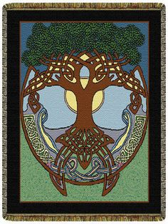 48x68 TREE OF LIFE Celtic Irish Tapestry Afghan Throw Blanket