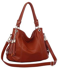 af3009c0d1 top handle bags  Miss Ying Women Retro Tassels Slouchy Hobo Style Brown PU  Leather Satchel Bags