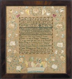 Fanny Wyman - Danvers, Massachusetts - 1799 Group of samplers was worked in neighboring towns of Danvers & Salem in late 18th, early 19th centuries.may have been one teacher. Sampler is a new discovery belonging to this body of work. The composition of the sampler, with its wide borders of open-blossomed flowers on leafy vines & low basket of fruit is almost identical to that of a sampler also made in Danvers & in the collection of Winterthur Museum