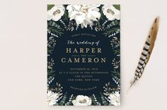 """""""Peonies & Berries"""" - Floral & Botanical Wedding Invitations in Winter White by Susan Moyal."""