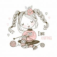 The Girl Is Engaged In Needlework Knitting A Scarf. Vector Stock Vector - Illustration of hobby, handicraft: 163614200 Cute Illustration, Graphic Design Illustration, Picture Logo, Cute Cartoon Wallpapers, Cute Images, Crochet Designs, Yarn Crafts, Cute Drawings, Vector Art