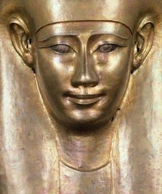 Gilded silver funerary mask of unknown person.30th Dynasty, 664-525 B.C.