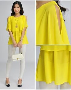 Women Summer Fashion short Sleeve O-Neck Solid Loose blouse Ruffle Leisure chiffon blouse tops short shirt tee Fall Fashion Outfits, Women's Fashion Dresses, Chic Outfits, Dressy Tops, Casual Tops, Sewing Blouses, Bodycon, Indian Designer Wear, Mode Style