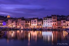 Blue hour is my favorite time to photograph #Cassis #Provence for colorful reflections of the beautiful cityscape.