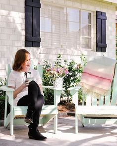 I seriously can not recommend these under-$50 Adirondack chairs more highly!   #outdoorlivingspace #outdoorpatioideas #outdoorfalldecor #adirondackchairs #seafoam #patioideasonabudget #budgetdecor #woodchairs