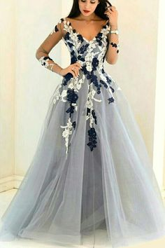 V-neck prom dress, ball gown, beautiful grey organza long prom dress with sleeves