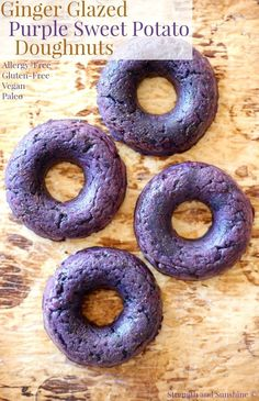 No more beige donuts! These healthy Ginger Glazed Purple Sweet Potato Doughnuts are gluten-free, allergy-free, vegan, & paleo! A creative and fun recipe! Gluten Free Recipes For Breakfast, Gluten Free Breakfasts, Gluten Free Desserts, Vegan Desserts, Vegan Gluten Free, Dairy Free, Paleo Vegan, Paleo Food, Vegan Foods
