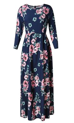 Pxmoda Womens Fashion Spring 3/21 Sleeve Classic Rose Maxi Dresses *** To view further for this item, visit the image link. (This is an affiliate link) #CasualDresses