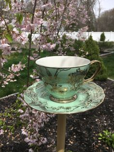 Bird feeder stake - teacup feeder - 222 Fifth ceramic bird feeder - upcycled bird feeder - garden stake - upcycled china - garden decoration by BsCozyCottageCrafts on Etsy