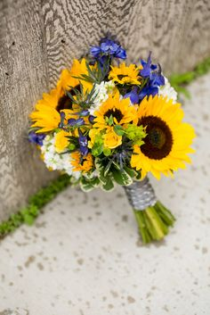 Bouquet With Sunflowers, Irises and Stock Flowers
