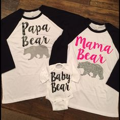 """Family """"Bear"""" Raglan shirt set Adorable set of shirts/ onesies for your family! Here is what you get: 2 adult Raglans with black sleeves.... Can say """"mama/papa bear"""", """"mama/mama bear"""" or """"papa/papa bear"""". And 1 child's tshirt up to a youth extra large, or onesie up to 18 months! Please specify what you want to order in your comment and I will make you a listing!! Tops Tees - Short Sleeve"""