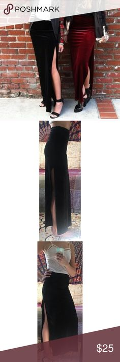 """LF Velvet Slit Skirt NWOT LF black velvet high waisted maxi skirt with thigh-high slit. Got this from another posher but I'm not crazy about the way it fits me so just tryin to get my money back:) recommend for a 26-27"""" waist. ~42.5"""" long, I'm 5'11 for length reference Millau Skirts Maxi"""
