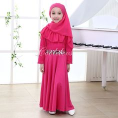 new 2016 muslim full length children's dress djellaba maxi chiffon dubai robe arab traditional clothing kids burqa with hijab - http://fashionfromchina.net/?product=new-2016-muslim-full-length-children-s-dress-djellaba-maxi-chiffon-dubai-robe-arab-traditional-clothing-kids-burqa-with-hijab