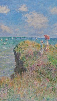The Cliff Walk at Pourville, 1882 ~ Claude Monet ♡ Aesthetic Painting, Aesthetic Art, Painting Wallpaper, Painting & Drawing, Monet Wallpaper, Painting Inspiration, Art Inspo, 7 Arts, Renaissance Kunst