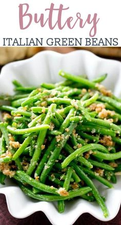 Italian Green Beans Recipe with Parmesan Cheese and Bread Crumbs Italian Green Beans >> by Tastes of Lizzy T's. The simplest, most delicious way to eat green beans! These Italian Green Beans are sauteed in butter, bread crumbs and Parmesan cheese. Side Dish Recipes, Veggie Recipes, Cooking Recipes, Healthy Recipes, Beans Recipes, Recipes Dinner, Healthy Cooking, Yummy Recipes, Healthy Food