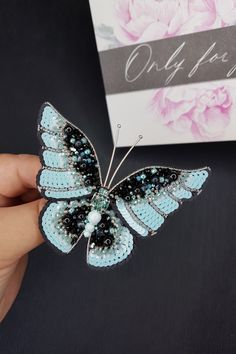 Pearl Brooch, Brooch Pin, Crystal Beads, Crystals, Handmade Gifts For Her, Native American Beadwork, Brooches Handmade, Beautiful Gift Boxes, Blue Butterfly