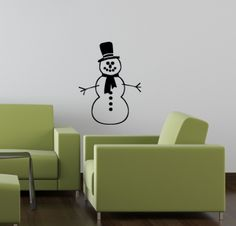 Snowman decal- so stinkin' adorable! #snow #man #snowman #winter #holiday #winter #decal #design #art #wall #vinyl #trading #phrases