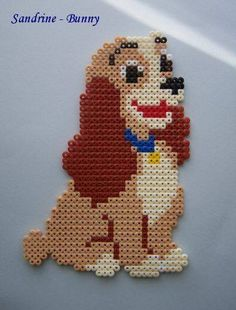 The Lady and the Tramp Disney hama beads Perler Bead Designs, Easy Perler Bead Patterns, Melty Bead Patterns, Hama Beads Design, Diy Perler Beads, Perler Bead Art, Pearler Beads, Fuse Beads, Beading Patterns