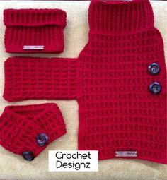 Crochet Dachshund dog coat, snood and bandana
