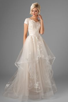 This modest wedding dress is sheer perfection! It's a brand new lace, coupled wi… This modest wedding dress is sheer perfection! It's a brand new lace, coupled with a… Modest Wedding Dresses, Boho Wedding Dress, Designer Wedding Dresses, Bridesmaid Dresses, Short Girl Wedding Dress, 2nd Marriage Wedding Dress, Butterfly Wedding Dress, Vintage Style Wedding Dresses, Gown Wedding
