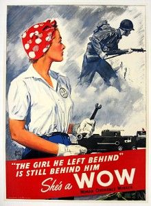 """Woman Ordnance Worker poster """"The Girl He Left Behind"""". Shows Rosie the Riveter in red bandana, collectors and non-collectors love these Rosie posters. There were a number of variants done during the war, this is among the most desirable. Pin Up, Propaganda Ww2, Pub Vintage, Ww2 Posters, Rosie The Riveter, Norman Rockwell, Dieselpunk, World War Two, Vintage Advertisements"""