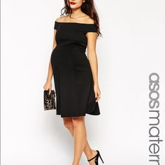Black ASOS Cold Shoulder Maternity Dress Only wore once inside my house for a couple of hours ended up not feeling so great that day and stayed in.. This is more of a formal dress, looks very classy and just pretty and flattering for any pregnant woman. Excellent Condition.. ASOS Dresses