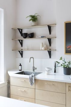 Birch plywood and brass kitchen and plywood shelves - Custom Fronts and Ikea cabinets Galley Style Kitchen, Farmhouse Style Kitchen, Kitchen Layout, Rustic Kitchen, Vintage Kitchen, Kitchen Design, Brass Kitchen, Farmhouse Sinks, Rustic Farmhouse