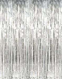 GIFTEXPRESSⓇ Pack of Metallic Silver Foil Fringe Curtain/Photo Backdrop/hanging Tinsel/Hanging curtain/foil fringe window cutain/doorway curtain/entrance curtain Decor Photobooth, Party Kulissen, Party Wedding, Party Games, Party Ideas, Shower Party, Bridal Shower, 21st Party, Sofia Party