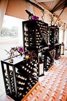 Wine rack set up for a wedding reception at Water Works Restaurant and Lounge. Image courtesy of JPG Photography.