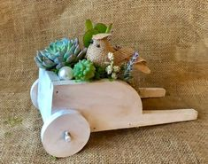 Excited to share this item from my shop: Living Succulent Wagon Arrangement Cool Succulents, Succulents In Containers, Wagon Planter, Planter Pots, Reduce Reuse Recycle, Succulent Arrangements, Something Old, Hand Painted, Etsy Shop