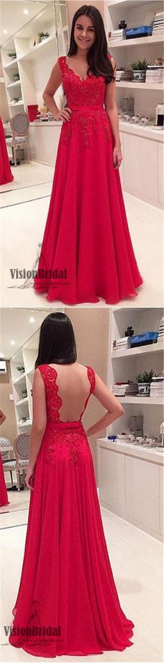 Red Lace Rhinestone Open Back Prom Dress, A-Line Chiffon Floor Length Prom Dress, Prom Dresses, VB0216 #promdress