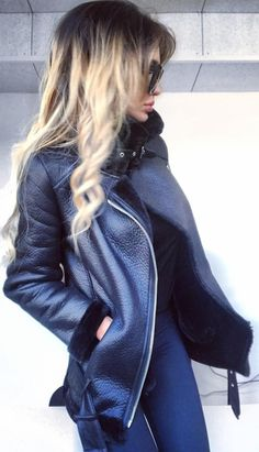 #winter #fashion / Black Leather Jacket + Navy Skinny Jeans