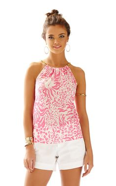 Lilly Pulitzer: I love pink flower prints! This print is perfect for spring and summer. I love the gold chain halter.