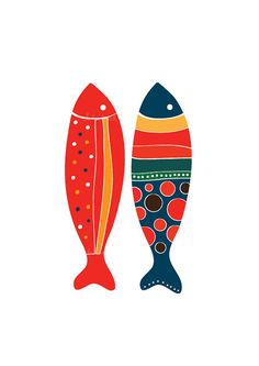 Colorful Fish Art Print Red & Navy Illustration Art by dekanimal