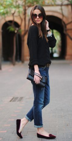 an amazing every day outfit and I NEED those oxblood velvet loafers